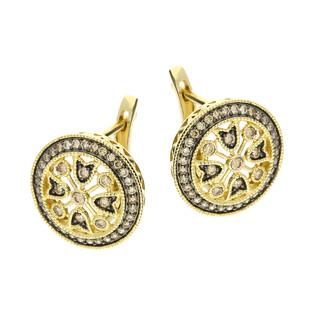 Kolczyki złote kółko z szampańskimi diamentami/ang,zap. LC JE5264-JP6793 CH próba 585