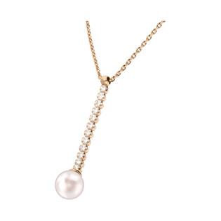 Naszyjnik srebrny rose z perłą jubilerską i cyrkoniami/anker NI GIA11608B ROSE próba 925