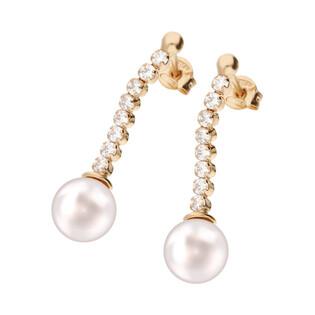 Kolczyki srebrne rose z perłą jubilerską i cyrkoniami/sztyft NI OR9336C ROSE próba 925
