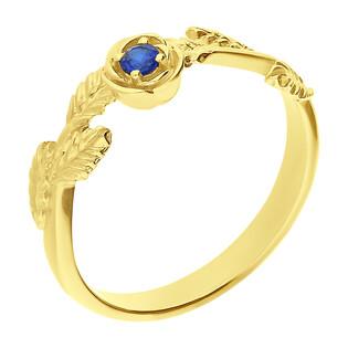 Pierścionek złoty listki z niebieską cyrkonią BC82 SA próba 585