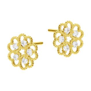 Kolczyki złote kwiatek z cyrkoniami/sztyft BC87 próba 585