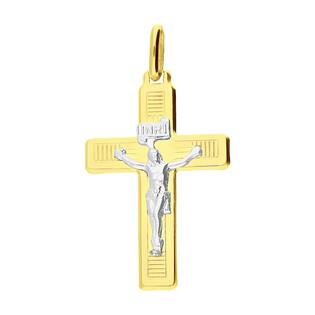 Krzyżyk złoty z wizerunkiem Pana Jezusa, żłobiony środek BC C-605 próba 585