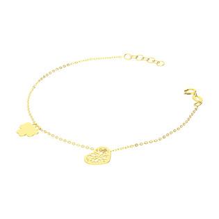 Bransoleta złota ażurowe serce i koniczyna/rolo BC70 próba 585