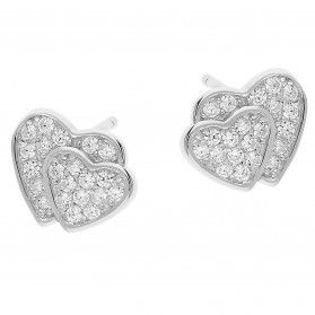 Kolczyki srebrne serca z cyrkoniami/sztyft DA710 próba 925
