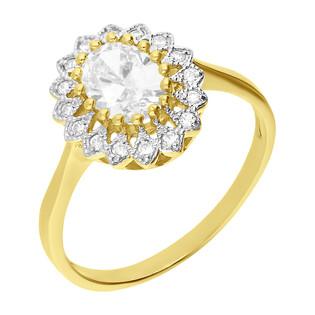 Pierścionek złoty markiza z białymi cyrkoniami KATE DJ12 KATE próba 585