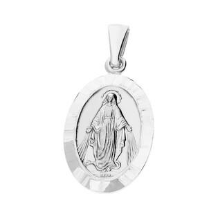 Medalik srebny z wizerunkiem Matki Boskiej Niepokalanej owal z taflą NI XCI01685 ROD próba 925