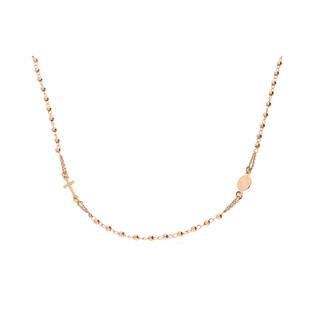Naszyjnik srebrny pozłącany różaniec paciorki gładkie NI ROGDG5UF25 ROSE próba 925