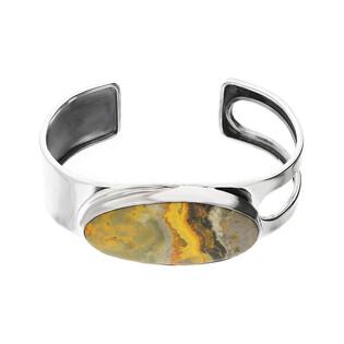 Bransoleta srebrna bangle żółty jaspis Indonezja GX MINERALS GX-jas-22 bangle próba 925
