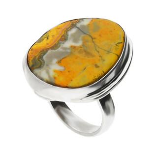 Pierścionek srebrny żółty jaspis Indonezja GX MINERALS GX-jas-20 próba 925