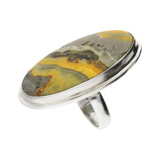 Pierścionek srebrny żółty jaspis Indonezja GX MINERALS GX-jas-22 próba 925
