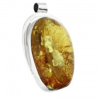 Zawieszka srebrna bursztyn koniakowy w żółtym odcieniu GX MINERALS GX-bur-6 próba 925