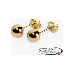 Kolczyki złote kulki gładkie na sztyft nr MZ E3-5mm-Ball próba 333