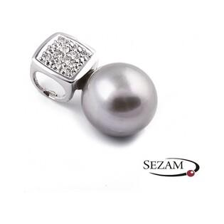 Zawieszka z diamentami i perłą nr BU 320277 próba 585