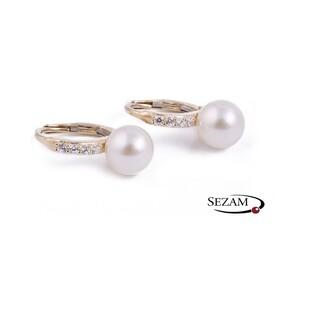 Kolczyki złote z perłą i cyrkoniami nr OS 96-0558 próba 585