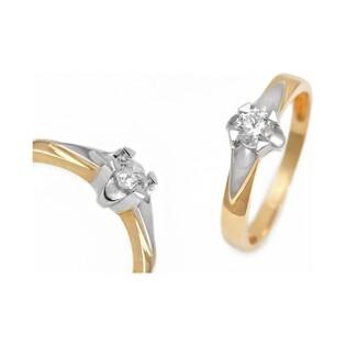 Dwukolorowy pierścionek zaręczynowy UNICO z diamentem DI t234-05 próba 585 Sezam - 1