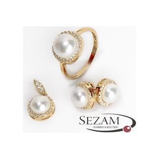 Pierścionek złoty z naturalną perłą i cyrkoniami nr ME 1105 próba 585