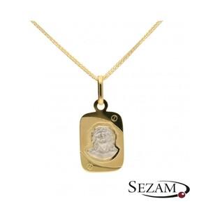 Medalik złoty Jezus na prostokątnej blaszce nr PF PF37 próba 585
