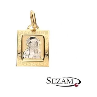 Medalik złoty Matka Boska z Dzieciątkiem dwa kolory nr OP74 próba 333