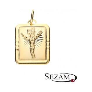 Medalik złoty typu blaszka z postacią Ukrzyżowanego Chrystusa nr OP73 próba 333