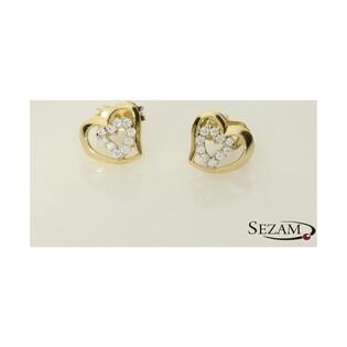Kolczyki złote serduszka z cyrkoniami nr AR XALE202149-YW-FCZ próba 585 Sezam - 1