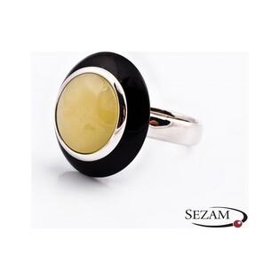 Pierścionek srebrny z mlecznym bursztynem i mineralitem kolekcja elite nr SA 2130-2
