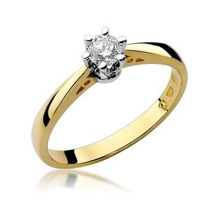Pierścionek złoty zaręczynowy z diamentem SOLITER BE W-234 próba 585 Sezam - 1