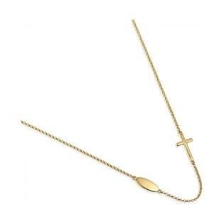 Naszyjnik złoty kolekcja Happy diamond z diamentem i krzyżem nr AW 03979 Y próba 585 Sezam - 1