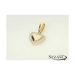 Serduszko złote z diamentami nr AW 56066 Y Sezam - 1