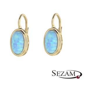 Kolczyki złote opal niebieski nr OS 96-0071 BLU