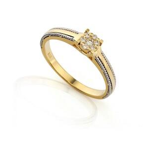 Pierścionek zaręczynowy a diamentami Anemon nr AW 36047 YW ze złota