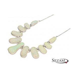 Naszyjnik srebrny z opalem białym nr A07