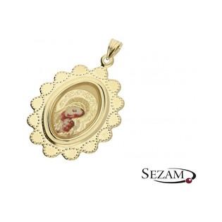 Medalik złoty z Matka Boską nr MI79/emalia