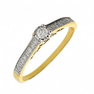 Pierścionek złoty zaręczynowy z diamentami SOLITER Magic DI 282-05 próba 585 Sezam - 2