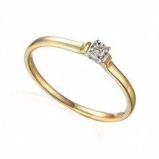 Pierścionek złoty zaręczynowy z diamentem SOLITER Magic AW 61115 YW próba 585 Sezam - 1