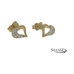 Złote kolczyki w kształcie serca nr AR XAALE201443-YW-FCZ próba 585 Sezam - 1