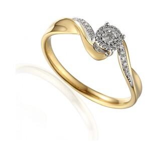 Pierścionek złoty zaręczynowy z diamentami SWEET AW 59040 YW próba 585 Sezam - 1