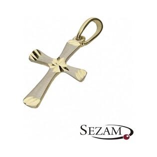 Krzyżyk złoty dwa kolory nr MZ P22 próba 585