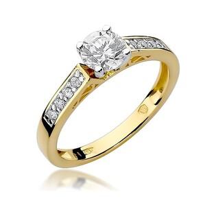 Pierścionek złoty, zaręczynowy, z brylantami, numer BE W-198 Soliter bis