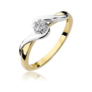 Pierścionek zaręczynowy, złoty z brylantem numer W-022 Anemon twist
