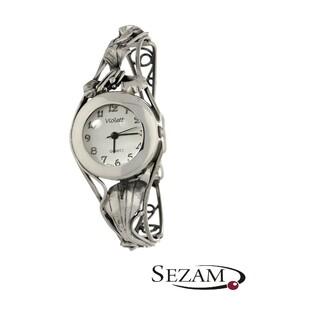 Zegarek srebrny damski VIOLETT numer KO 03-37 okrągły secesja a