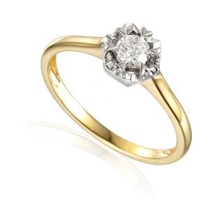 Pierścionek złoty z diamentem FLOWER AW 35222 YW próba 585 Sezam - 1