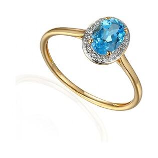 Pierścionek zaręczynowy z brylantami i topazem nr AW 62898 Y topaz blue owal