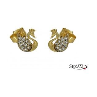 Kolczyki złote łabędzie numer MZ ES117-CZ GS Au 585 Sezam - 1