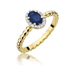 Pierścionek zaręczynowy z diamentami i szafirem numer BE W-359 Markiza