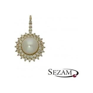 Zawieszka perła biała+cyr.w koło OS 96-0557 próba 585 Sezam - 1