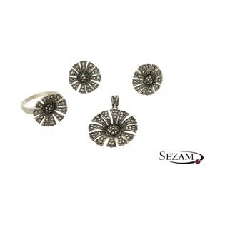 Komplet biżuterii srebrnej z kolekcji Art Deco numer TB05