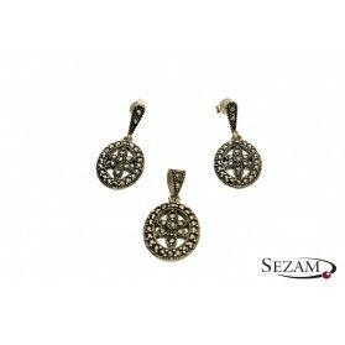 Komplet biżuterii srebrnej z kolekcji Art Deco numer TB07