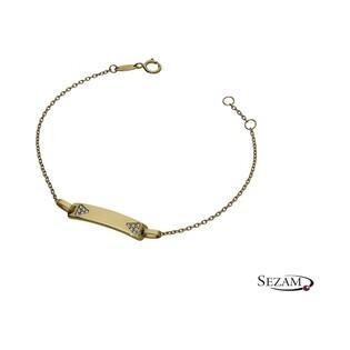 Bransoleta złota dla dziecka blaszka z cyrkoniami numer AR 2615-II-FCZ próba 333