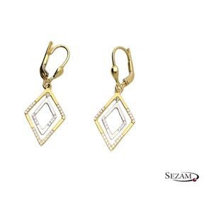 Kolczyki złote romb dwukolorowy numer AR 205536-YW-FCZ Au 585