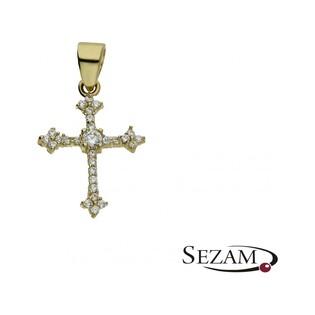 Krzyżyk damski złoty z cyrkoniami numer AR 0038 Au 585